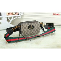 Gucci Fashion Multicolor Women Leather Purse Waist Bag Single-Shoulder Bag Crossbody Satchel Black I-OM-NBPF