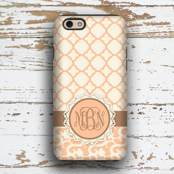 Unique gifts for women, Pretty Iphone 6 case, Pink Iphone 5c case, Floral iPhone 5 case, Monogram iPhone 6s case Gifts for her, Coral (1350P
