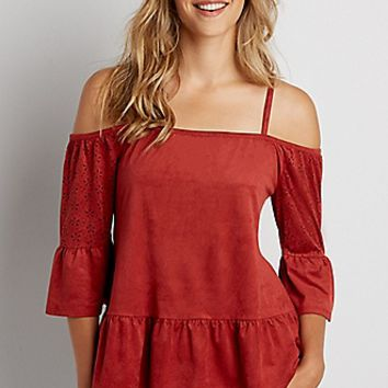 cold shoulder faux suede top with laser cut sleeves | maurices
