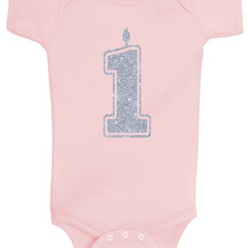 Baby Girl 1st Birthday Bodysuits - 1 Silver Glitter Flake Outfits