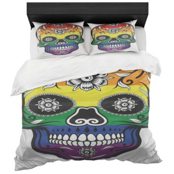 Gay Pride Rainbow Catrina Skull Duvet Cover And 2 Standard Pillow Shams King Size Microfiber Fabric