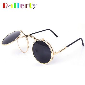 Ralferty Retro Steampunk Googles Vintage Round Flip Up Sunglass Women Mens Clip On Sunglasses Metal Punk Sun Glasses Male Oculos