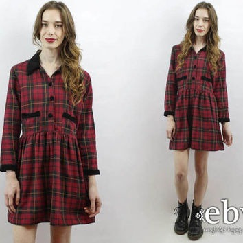 90s Grunge Dress 90s Plaid Dress Plaid Mini Dress Red Plaid Dress Plaid Babydoll Dress Tartan Plaid Dress 90s Dress 90s Mini Dress L XL