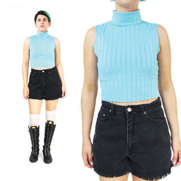 90s Ribbed Turquoise Crop Top Spandex Turtleneck Tank Top Sleeveless Mock Neck Top Vintage 1990s Stretchy Top Summer Cropped Shirt (XS/S/M)