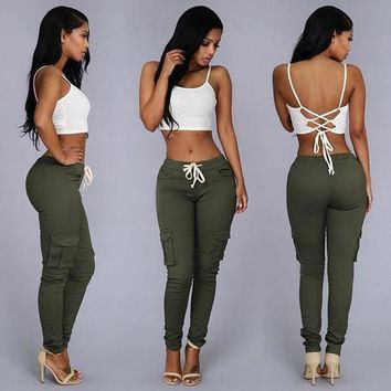 MDIGHQ9 Summer Casual Multi Pocket Pants High Waist Solid Lacing White Red Army Khaki Shiny Pencil Pants Capris Women Trousers