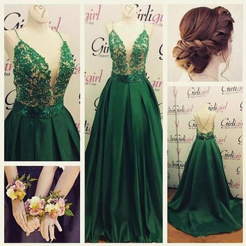 Spaghetti Straps Green Applique Prom Dresses,Prom Dress