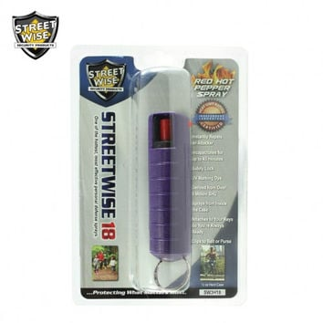 Lab Certified Streetwise 18 Pepper Spray 1/2 oz HARDCASE PURPLE