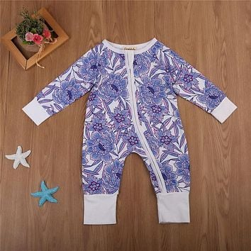 Newborn Infant Kid Baby Girl Cotton Romper Fall Baby Floral Long Sleeve Romper New Hot Bebes Jumpsuit Clothing For Newborns