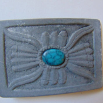 Turquoise center Indian style feather belt buckle Vintage