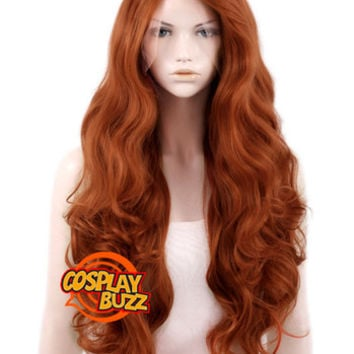 "28"" Long Curly Reddish Brown Customizable Lace Front Synthetic Hair Wig LF735 - CosplayBuzz"