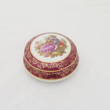 Vintage Limoges French Porcelain Trinket Box La Reine Porcelaine B10,Vintage Trinket Box. French Vintage, UK Seller