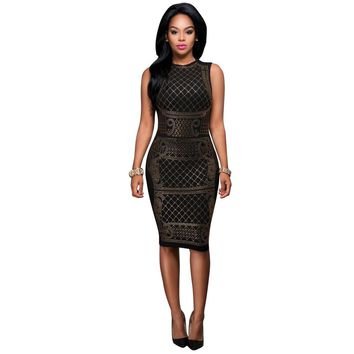 Bodycon Pencil Black Knee-length Dress