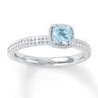 Stackable Ring Aquamarine Sterling Silver