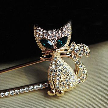 Fashion Women Girl New Golden Silvery Rhinestone Crystal Green-eyes Cat Brooch Pin Christmas Gift