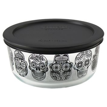Pyrex Halloween Day of the Dead 4 cup Storage