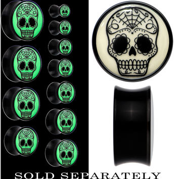 Sugar Skull Glow in the Dark Saddle Plug in Black Acrylic