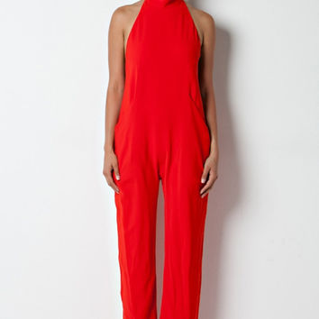 Halter Turtleneck Open Back Jumpsuit - Red