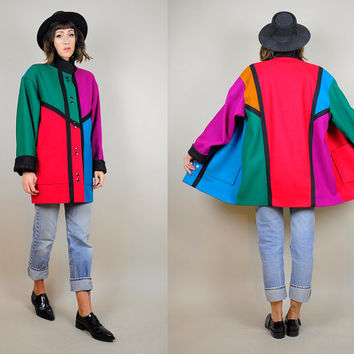 rainbow COLORBLOCK vtg 80's wool MINIMALIST peacoat NEON duffle swing coat Bold boyfriend Medium
