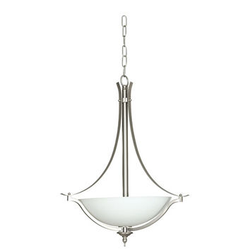 Sunset Lighting F5414-53 Continental Three-Light Satin Nickel Bowl Pendant with Frosted Milk Glass