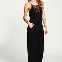 Black Embroidered Mesh Crepe Jumpsuit - LoveCulture