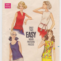 Vintage Sleeveless Blouse Shirt Top Pattern Late 1960s Butterick 5687 B 38