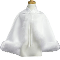 White Marabou Feathers & Satin Cape for Communion or Occasion Dresses (Girls Size 5 to 14)