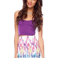 Color Blend Bandage Skirt in White Multi :: tobi