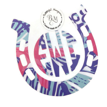 Lilly Pulitzer Monogram Horse Horseshoe Vinyl Decal