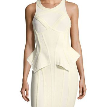 Herve Leger Sleeveless Peplum Bustier Dress