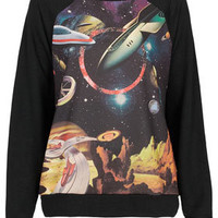 Planet Motif Sweat - Jersey Tops  - Clothing