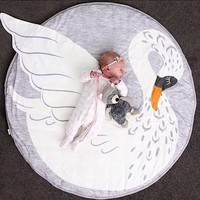 New Arrival Lovely swan Playmat Blanket Baby Play Rug Baby Game Mat Children Room Decoration Creeping Mat