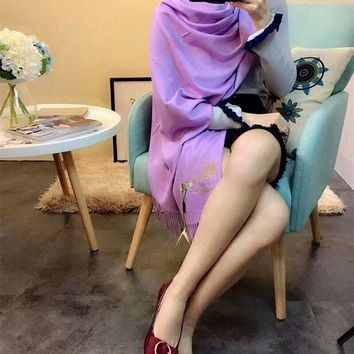 CREYUX5 Luxury Burberry Keep Warm Scarf Embroidery Scarves Winter Wool Shawl Feel Silky And Delicate - Purple