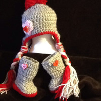 Valentine Beanie & Boot combo - newborn to 12 month - made to order