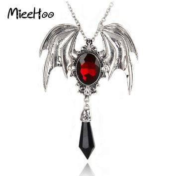 Gothic Red Crystal Vintage Bat Pendant Boho Necklace