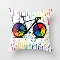 Rainbow raindrops Throw Pillow by cindys