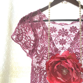Crochet shrug, Bohemian fringed crochet crop top, Boho chic clothing, Romantic magenta shabby chic top, Country chic, True rebel clothing