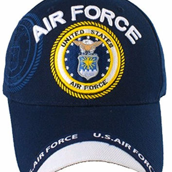 Air Force Hat Baseball Cap Blue with White Bill U.S. and BCAH Bumper Sticker