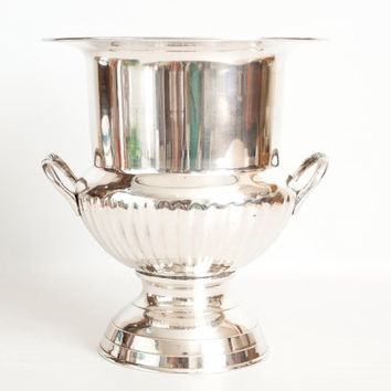 Vintage International Silver Plate Champagne Bucket with Handles, Silverplate Trophy Shape Wine Cooler Ice Bucket