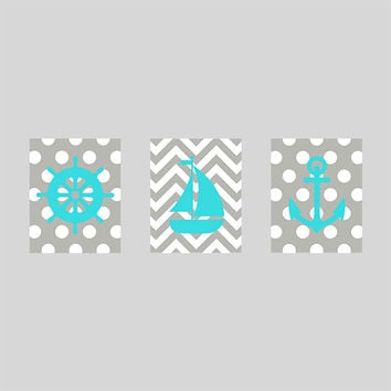 Nursery Print Nautical Sailboat Anchor, Navy Light Aqua Nautical Prints, CUSTOMIZE YOUR COLORS, 8x10 Prints, set of 3, decor art baby decor
