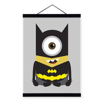 Batman Minions Superhero Avengers Pop Movie Cartoon Wooden Framed Canvas Painting Wall Art Print Picture Poster Scroll Home Deco