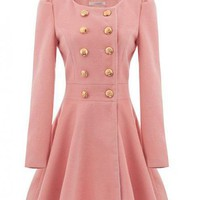 Pink Long Sleeve Double Breasted  Slim  Coat$128.00