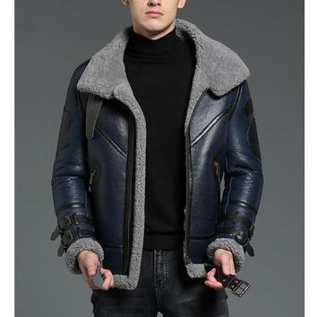 New Genuine Sheep Shearling  Coat Men Winter Jacket Blue Fur  Casual