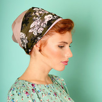 Pink head scarf – Floral headcovering  – Hair snoods – Satin Headpiece