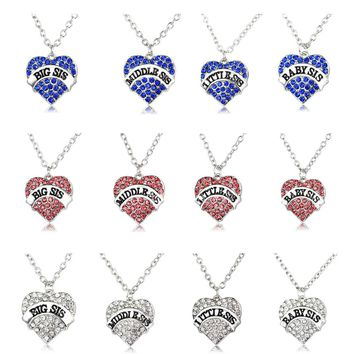 2017  Matching Big Middle Little Baby Sis Crystal Heart best  friends Necklace Gift for Little Sister BFF Girls,Teens,Women