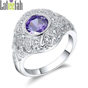 Lateefah Luxury Filigree Wedding Rings for Women Purple Cubic Zirconia Royal Jewelry Ring Female Engagement Ring Gift Anel Bague