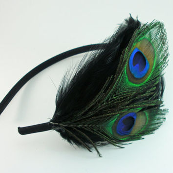 Black Peacock Feather Headband, Great Gatsby, peacock feathers hair band, 1920s flapper, art deco peacock hair fascinator