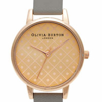 **Olivia Burton Modern Vintage Dot Design Grey & Rose Watch - New In