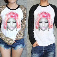 Nicki Minaj Baseball Shirt Jersey Long Sleeve T Shirt Black White Leopard S M L