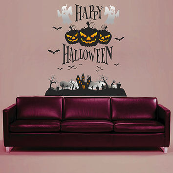 kcik1654 Full Color Wall decal greeting halloween coffee shop showcase