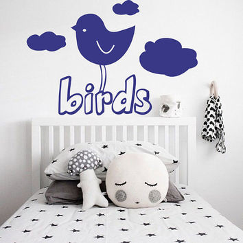 I212 Wall Decal Vinyl Sticker Art Decor Design bird cloud sky nature tweet nursery room for a baby cartoon drawing Living Room Bedroom